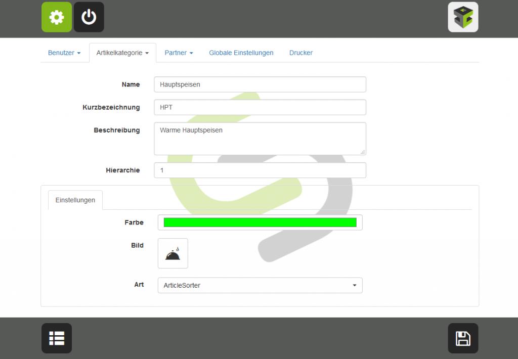 Ordercube Tablet-Screen Artikelkategorieanlage