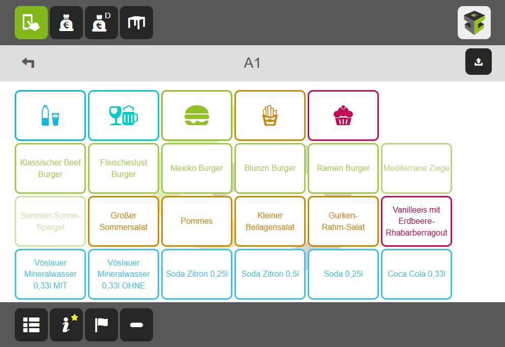 Ordercube Tablet-Screen Direktrechnung