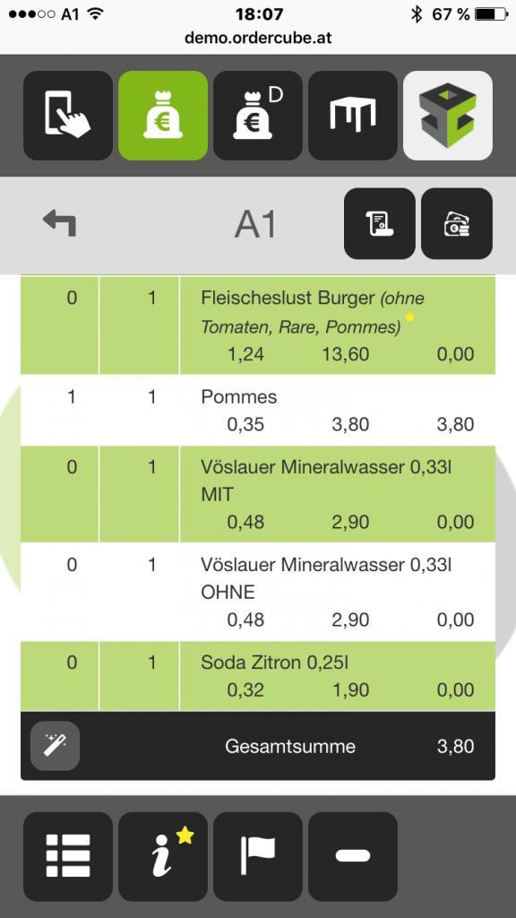 Ordercube Small-Screen Rechnung